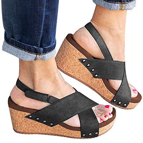 Dress Black Wedge Heel Sandals - Athlefit Women's Strap Wedges Sandals Platform Faux Leather Cork High Heels Size 8.5 Black