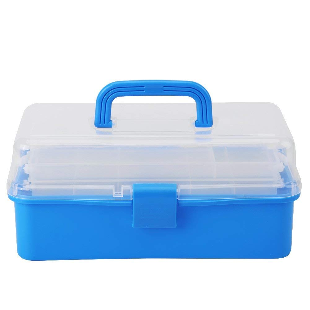 Transparent Strong Plastic Foldable 3-Layer Storage Box Tool Organizer Container Case with Handle(Blue) Walfront