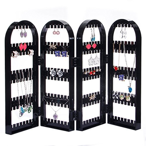 Foldable Acrylic Jewelry Rack Earrings Necklace Plastic Display Organizer Screen jewerly Holder - Large Capacity for 120 Pair Earrings jewerly Holder - Large Capacity for 120 Pair Earring (Black)