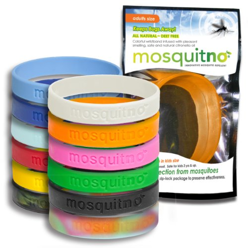 Mosquitno 50-Pack Natural Mosquito Repellent Wristbands, Adult, Assorted by Mosquitno