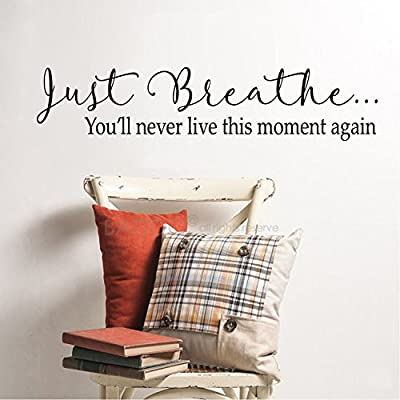 BATTOO Just Breathe Wall Art Vinyl Decal Sticker, Relaxation Meditation Quotes Phrases Wall Saying Words Vinyl Lettering