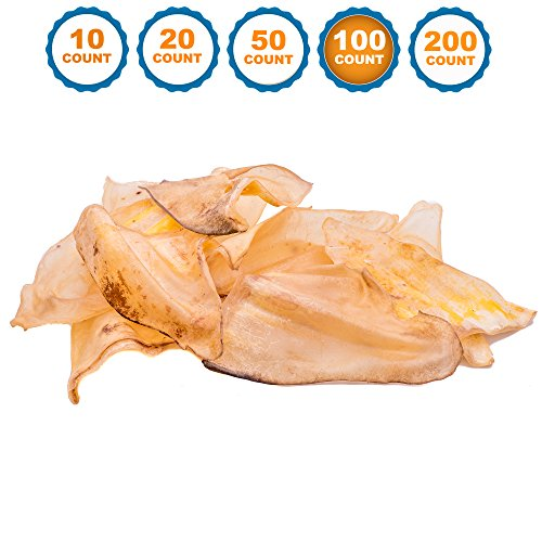 123 Treats - Dog Chews Cow Ears (100 Count) 100% Natural Animal Ears from Free Range Grass Fed Cattle with No Hormones, Additives or Chemicals