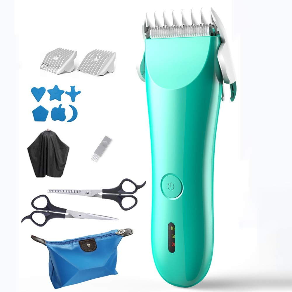 QMJHL Baby Hair Clipper, Waterproof Mute Baby Shaved Hair, Ceramic Cutter Head, Rechargeable Hair Clipper, Will not let The Baby Fear, a Total of 9 Pieces. by QMJHL
