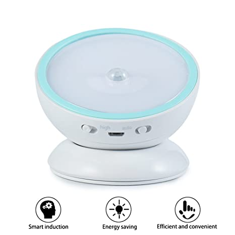 ELINKUME Sensor de Movimiento Automático de 360 Grados, Sensor de Movimiento Noche Luz, Luz