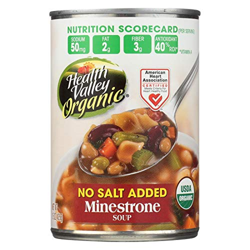 Health Valley Organic Soup - Minestrone, No Salt Added - Case of 6 - 15 oz. ()