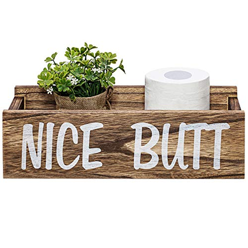 Y&ME YM Nice Butt Bathroom Decor Box, Farmhouse Wooden Bathroom Box, Wooden Rustic Toilet Paper Holder, Funny Home Decor Box for Bathroom, Kitchen, Table and Counter (Brown)
