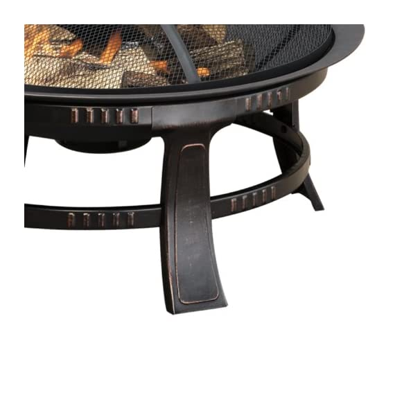 Brant Wood Burning Circular Fire Pit in Rubbed Bronze - Overall dimensions: 30L x 30W x 17.32H inches Simple, round design supported by a steel frame Mesh spark guard keeps users safe - patio, outdoor-decor, fire-pits-outdoor-fireplaces - 51Ff9FuOCAL. SS570  -