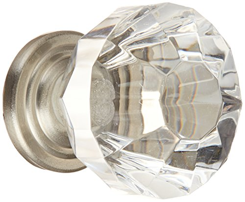 Amerock 14303CSG Traditional Classics 1-1/4 in (32 mm) Diameter Clear/Satin Nickel Cabinet Knob