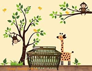 Amazon.com: Baby Nursery Wall Decals Safari Jungle ...