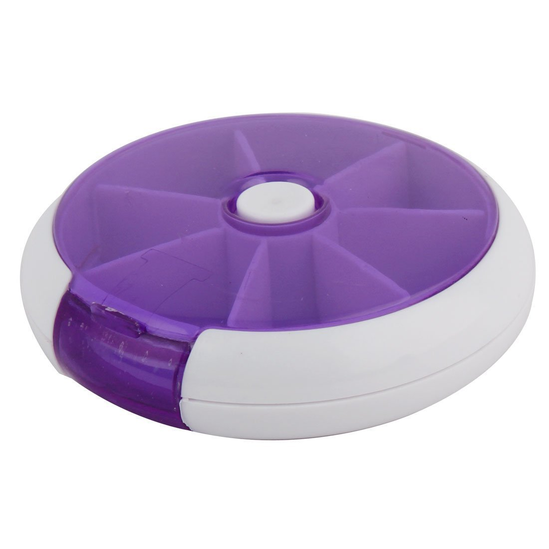 Sky Fish Pill Box 7 Day Round Tray Medicine Box Holder Vitamins Container Pill Organiser Case Pill Storage Dispenser Drug Holder Daily Boxes Compartments Purple