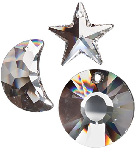 Kristallglas Set mit Swarovski Kristalle Sonne, Mond, Stern Feng Shui Deko Regenbogenkristalle Suncatcher Geschenkset