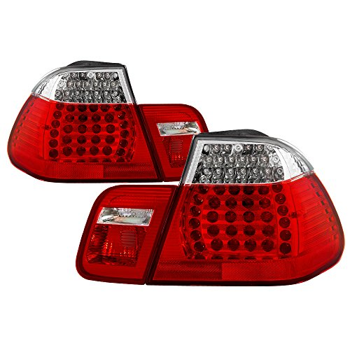 Jdragon for BMW 2002-2005 E46 4dr Red Clear LED Rear Tail Brake Lights Set 4 Door 325i 330i 320i