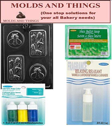 Shea Butter Glycerine Soap Base, Yellow/Green/blue .25 oz, Vanila Lavender soap fragrance and Honey Bee Soap making mold