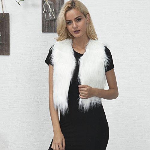 Gilet Fourrure Sans Mode Fausse Renard Gilet Court Femme VLUNT Bol Blousons Manches de gXvwq8H5n