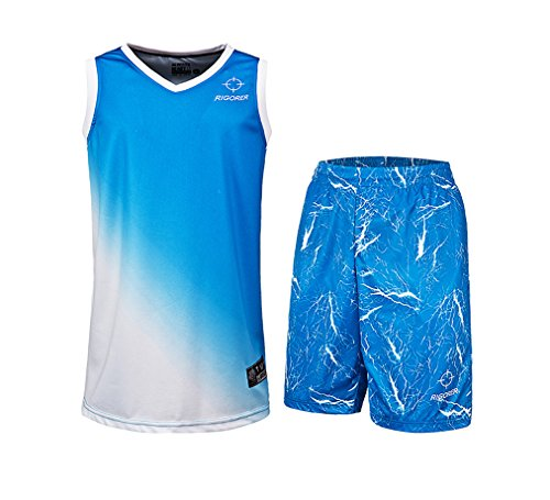 Dazzle Cloth Uniform - Rigorer Basketball Uniform Jersey and Shorts Trainning Tank Top Set Blue XL