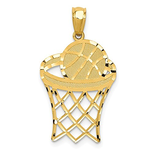 - Jewel Tie 14K Yellow Gold Basketball Pendant - (0.91 in x 0.59 in)