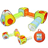 Yoobe 6pc Children Play Tent and Tunnel, Indoor & Outdoor Child Pop up Tent with Tunnels Playhouse