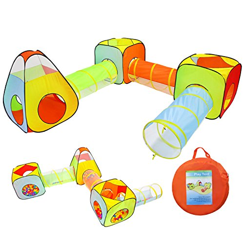 Yoobe 6pc Children Play Tent and Tunnel, Indoor & Outdoor Child Pop up Tent with Tunnels Playhouse by Yoobe
