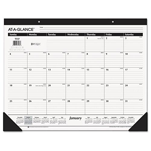 At A Glance Monthly Desk Pad Calendar  Ruled Blocks  January 2018   December 2018  22  X 17   Sk2400