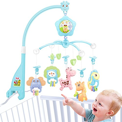 Baby mobiles for crib musical,Baby plush Crib mobile With lights&music and toy for pack and play (Blue) Plays Music Lights