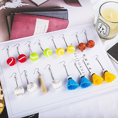 Day vitality Fun personalized Baseball Basketball Tennis long earrings Korean temperament earrings earrings earrings ear clip - Basketball Message Ring