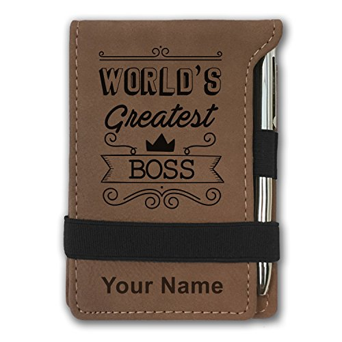 Mini Pocket Notepad - World's Greatest Boss - Personalized Engraving Included (Dark Brown) (Greatest Gift Pen)