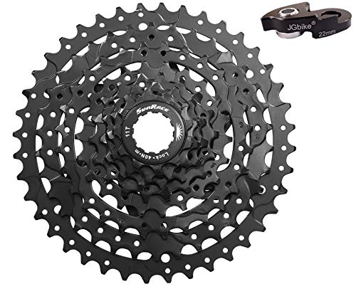JGbike Sunrace 8 Speed Cassette 11-40T, CSM680 Wide Ratio MTB Cassette for Mountain Bike Including Extender for SRAM/Shimano mid or Long cage derailleur- Black