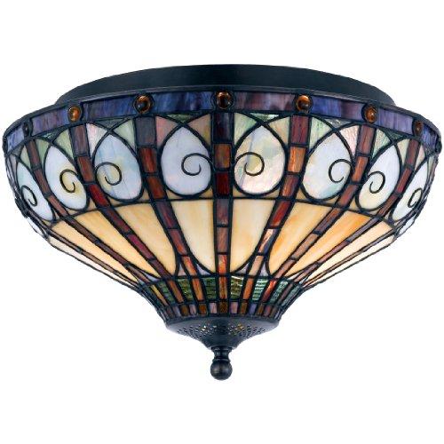 (Quoizel TFAV1714VB Ava Tiffany Flush Mount Ceiling Lighting, 2-Light, 120 Watts, Vintage Bronze (9