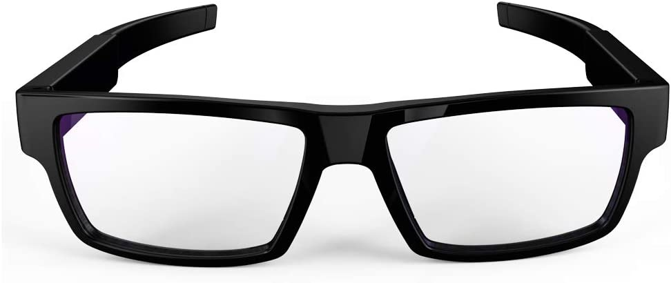 SPYCENT Glasses with Camera Clear Lens Black 1080P Bult in Video Recorder up to 32 GB, One Touch Recording, No Pinhole Camera, Secret Agent Spy Glasses