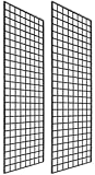Only Garment Racks #1900B (Box of 2) Grid Panel for Retail Display - Perfect Metal Grid for Any Retail Display, 2'x 6', 2 Grids Per Carton (Black Finish)