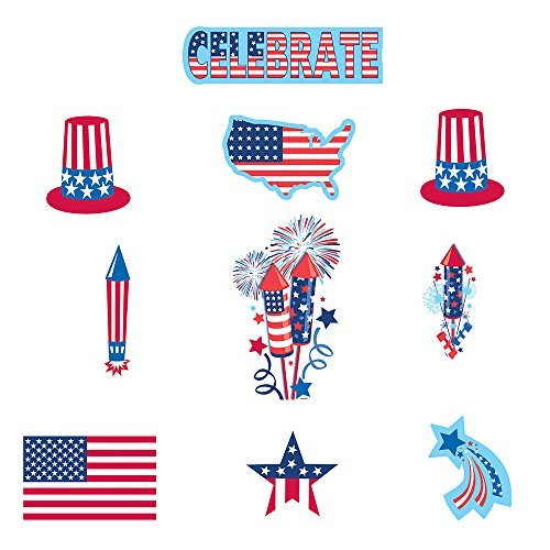 30 Piece Bulk Pack 4th of July Paper Cutout Decorations Patriotic Red White And Blue Party Favor Supplies Accessories For Indoor and Outdoor Use -