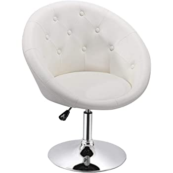 Delicieux Yaheetech Adjustable Modern Round Tufted Back Chair Tilt Swivel Chair  Vanity Chair Barstool Lounge Pub Bar,White