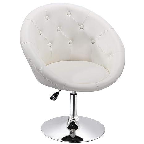 . Yaheetech Adjustable Modern Round Tufted Back Chair Tilt Swivel Chair  Vanity Chair Barstool Lounge Pub Bar White