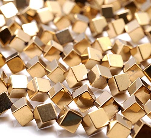 4MM Gold Hematite Gemstone Diagonal-Drill Square Cube Loose Beads 15.5