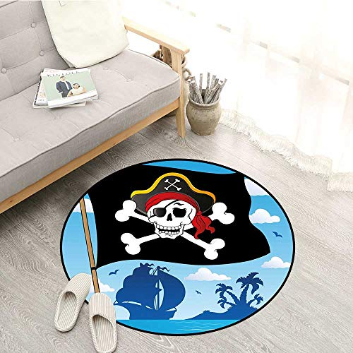 ound Rugs Danger Sign Beware of Pirates Skull with Hat Cross Bones Flag Deserted Island Sofa Coffee Table Mat 3'11