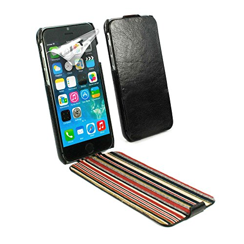 (Alston Craig Personalised Flip-Style Vintage Genuine Leather Moulded Case Cover for Apple iPhone 6 / 6s - Black)