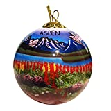 Aspen, CO like you've never seen it before. This beautiful, reverse-painted glass ornament is shown in full 360 degrees. It continues an ancient art-form prized by collectors. The artists choosing from a selection of miniature curved and bent...