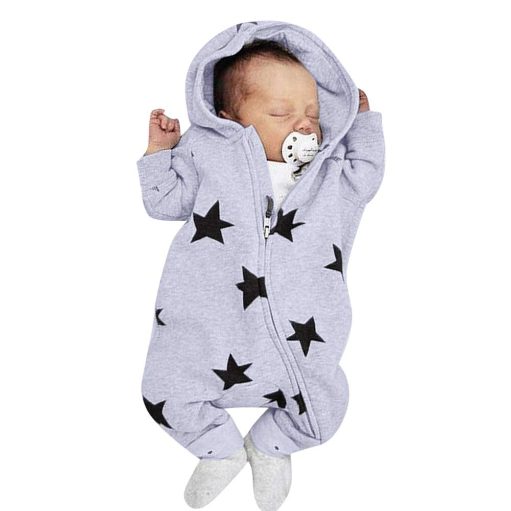 0-2 Years Old, New Fashion Newborn Infant Baby Girls Boys Stars Print Hooded Zipper Romper Jumpsuit Outfits (Gray, 3-6 Months) COOKDATE-baby clothes