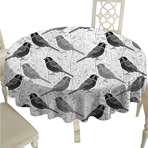 duommhome Grey Waterproof Tablecloth Floral Flower Buds Leaves Pattern English Country Style Victorian Lace Image Print Easy Care D51 Grey White