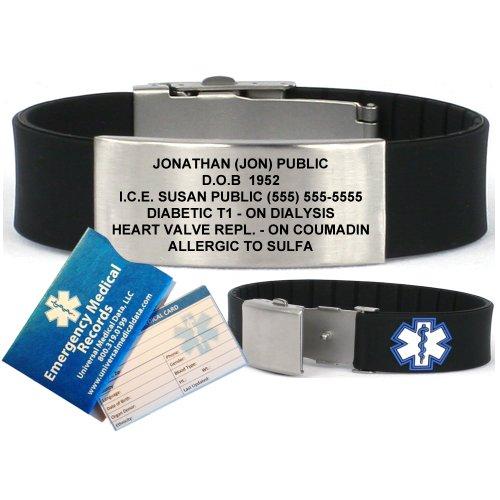 Noir Sport silicone bracelet d'alerte médicale ID. Incl. 6 lignes de gravure personnalisée.