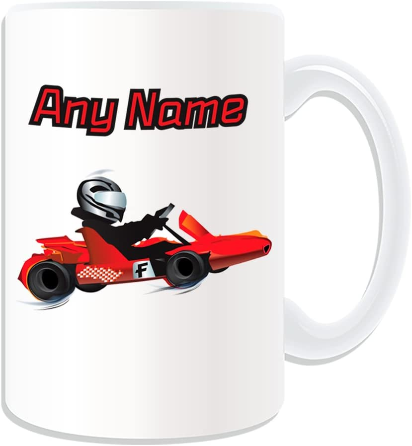 Personalizada taza de regalo–grande Go Karting (Deporte y diseño de Hobby Tema, Blanco)–Cualquier Nombre/Mensaje en tu Unique–Kart Racing coche de carreras