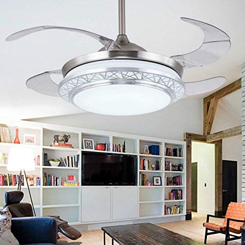 Lighting Groups Modern Acrylic Blades Cool Ceiling Fan Light Kit 42 Inch Invisible Energy-Saving Mute Fan Chandeliers for Indoor Living Room Bedroom Dining Room Ceiling Light Fixture (Silver) ()