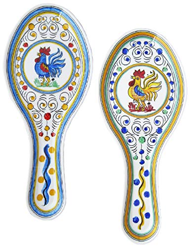 (2 Le Cadeaux Yellow and Blue Rooster Spoon Rest Set | Farm, Country, Floral Theme | High Strength Durable Melamine - Break, Scratch and Chip Resistant)