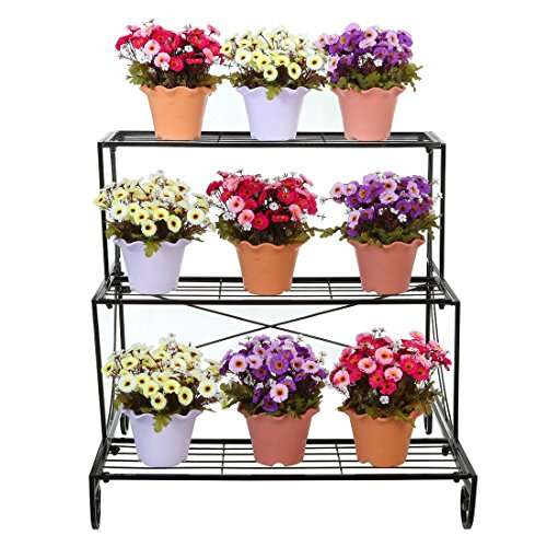Metal Plant Stand 3 Tier Flower Pot Holder Outdoor Garden Patio Planter Black