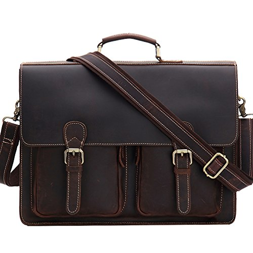 Kenox Geuniune Leather Vintage Handmade Men's Laptop Briefcase Messenger Bag Fit 15 Inch Laptop ()