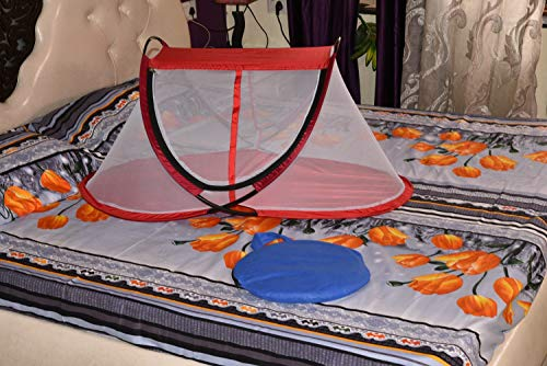 AmazingHind Foldable Baby Mosquito Net. Portable Natural Infant Mosquito Repellent. Organic Travel Tent House for… 2021 July Color: sky blue net material type : polyester unfold size: 38.5 x 20 x 17 inch (Lx W x H) and folded size: 12 x 12 x 1.5 inch. It is portable for travel Suitable age: 0 year - 1 year soft and comfy compact and foldable baby mosquito net best infant mosquito repellent with a cloth carry bag Special design - made with zippered curtains and 4 sides ventilated mesh, baby travel mosquito net can ensure your baby absolute comfort