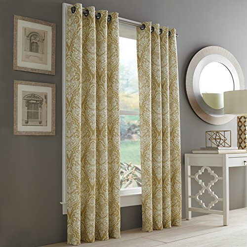 Five Queens Court Rockland Lined Thermal Drapery Window Panel, Damask Medallion Design, Gold