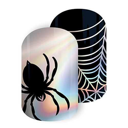 Jamberry Nail Wraps - Creep It Real - Full Sheet - Halloween Holographic Spiders & Web… -