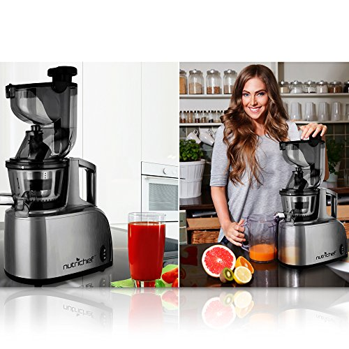 Nutrichef Countertop Masticating Slow Juicer : Premium NutriChef Masticating Slow Juicer Extractor, Cold Press Juicer Masticating, Quiet Motor ...