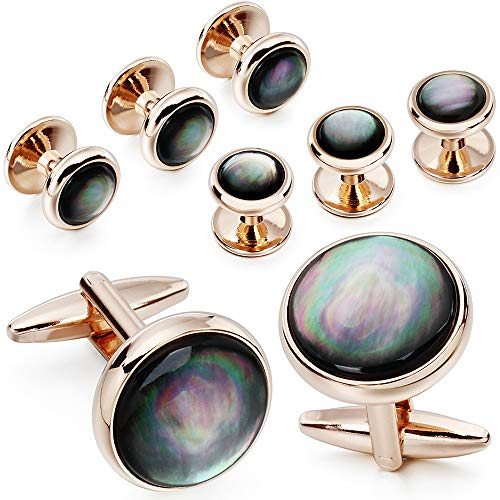 Mens Mother of Pearl Cufflinks and Dress Studs Set for Wedding Party (grey)